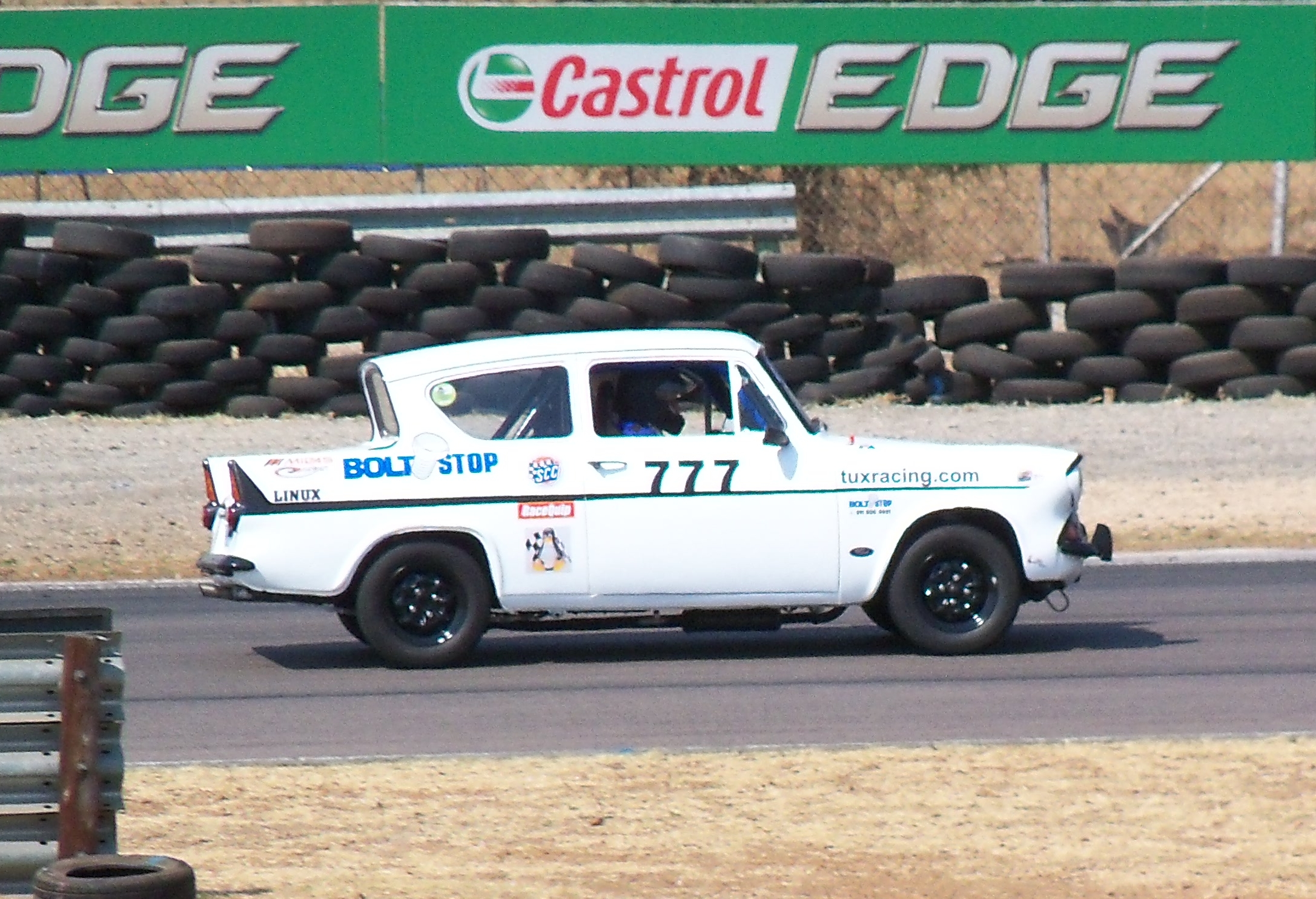 Fossa Ford Anglia in action on her steel rims