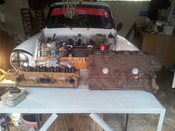 Cylinder head and block partially paint stripped