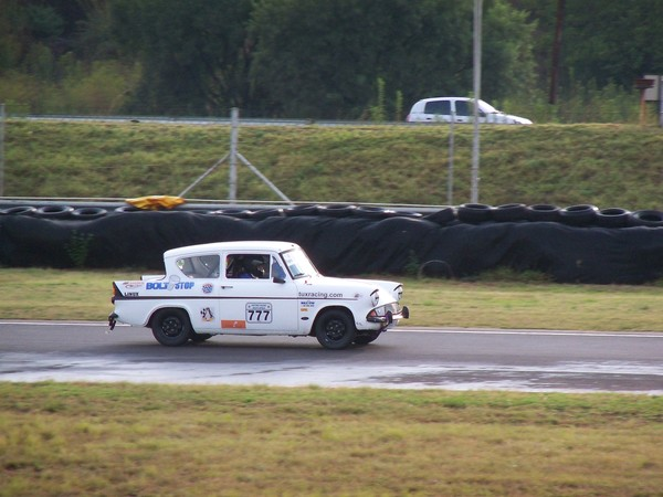 Fossa Ford Anglia on the back straight