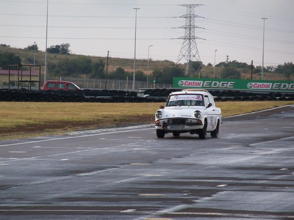 Fossa Ford Anglia on pit straight