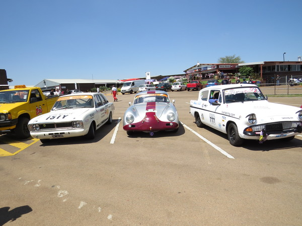 Left to right: Dugald McLeod - Mk2 Ford Cortina, our challenge to the 2013 class U championship, Clive Winterstein - Porsche 356A, our challenge for the day and on your right, the World Famous Fossa Ford Anglia!