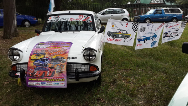 "Fossa Ford Anglia ""posterized"" and with some of our banners from our spectating days"