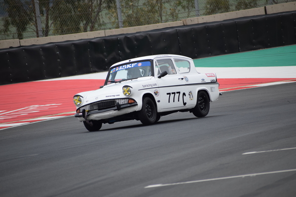 Fossa Ford Anglia on two wheels