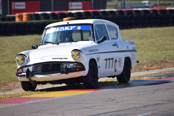 Fossa Ford Anglia, the shiniest car on track